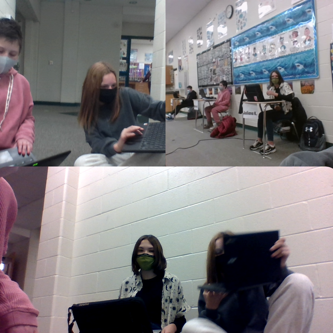 a collage of photos of students working on their laptops